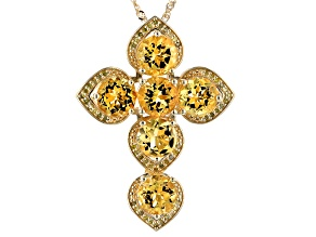 Pre-Owned Golden citrine 18k gold over silver pendant with chain. 10.31ctw