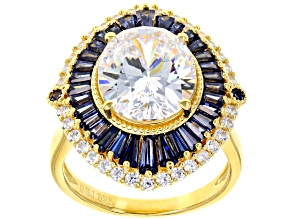 Pre-Owned Lab Created Sapphire, White, & Blue Cubic Zirconia 18K Yellow Gold Over Sterling Silver Ri