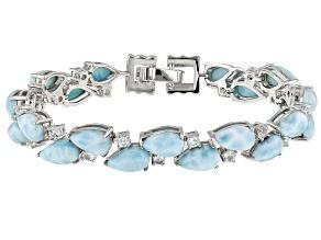 Pre-Owned Blue larimar sterling silver bracelet 2.46ctw