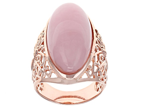 Pre-Owned Pink opal 18k rose gold over silver ring