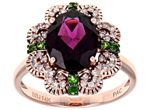 Pre-Owned Grape Color Garnet, Green Chrome Diopside, & White Diamond 14K Rose Gold Ring 2.66ctw