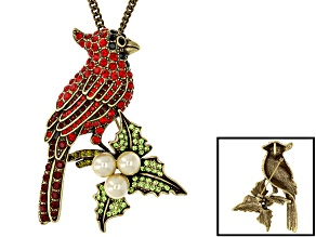 Pre-Owned Antique Bronze Tone Multicolor Crystal Pearl Simulant Cardinal Brooch Pendant With Chain