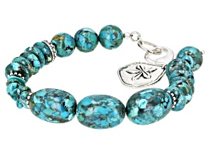 Pre-Owned Turquoise Rhodium Over Silver Bracelet