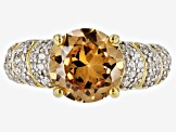 Pre-Owned Brown And White Cubic Zirconia 18k Yellow Gold Over Silve Ring 2.57ctw (2.26ctw DEW)