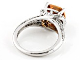 Pre-Owned Brown And White Cubic Zirconia Silver Ring 6.25ctw (4.04ctw DEW)