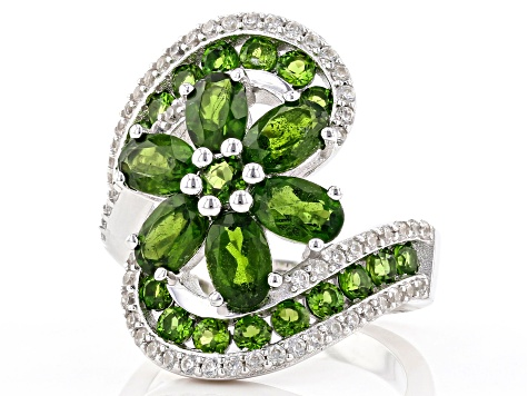 Pre-Owned Green Russian Chrome Diopside Rhodium Over Silver Ring 4.75ctw