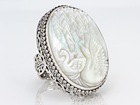 Pre-Owned White Mother Of Pearl Silver Swan Ring