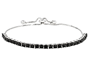 Pre-Owned Black Spinel Rhodium Over Sterling Silver Bolo Bracelet 3.92ctw