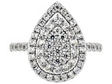 Pre-Owned White Zircon Rhodium Over Sterling Silver Ring 1.90ctw