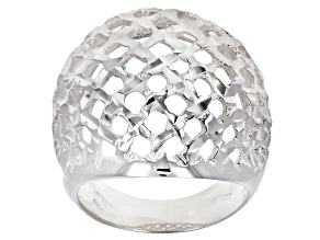 Pre-Owned Sterling Silver Dome Shield Ring