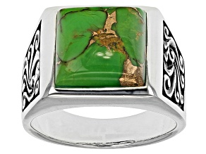 Pre-Owned Green Turquoise Sterling Silver Mens Ring