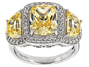Pre-Owned Yellow And White Cubic Zirconia Rhodium Over Sterling Silver Ring 9.67ctw