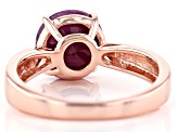 Pre-Owned Red ruby 18k rose gold over silver ring 2.75ct