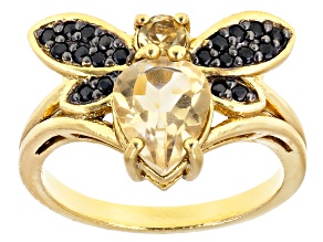 Pre-Owned Yellow citrine 18k gold over silver ring 1.58ctw