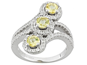 Pre-Owned Yellow Beryl Sterling Silver Ring 1.25ctw
