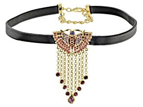 Pre-Owned Multicolor Crystal  Butterfly Choker