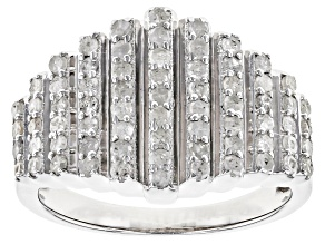 Pre-Owned White Diamond Rhodium Over Sterling Silver Ring 0.70ctw