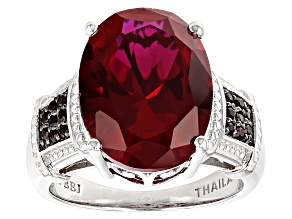 Pre-Owned Red Lab Created Ruby Sterling Silver Ring 9.16ctw