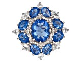 Pre-Owned Color change blue fluorite rhodium over silver ring 11.74ctw