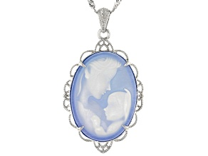 Pre-Owned Blue agate mother and child cameo rhodium over silver pendant with chain