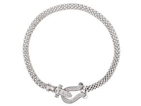 Pre-Owned White Cubic Zirconia Rhodium Over Sterling Silver Statement Bracelet 0.64ctw