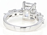 Pre-Owned White Cubic Zirconia Rhodium Over Sterling Silver Center Design Ring 5.46ctw
