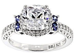 Pre-Owned Blue and White Cubic Zirconia Rhodium Over Sterling Silver Ring 4.96ctw
