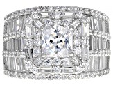 Pre-Owned White Cubic Zirconia Rhodium Over Sterling Silver Ring 8.83ctw