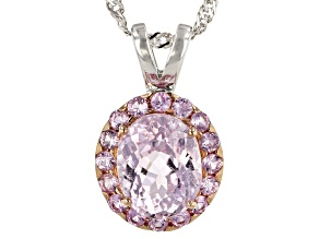 Pre-Owned Pink Kunzite Sterling Silver Pendant With Chain 3.28ctw