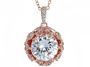 Pre-Owned White Cubic Zirconia 18K Rose Gold Over Sterling Silver Pendant With Chain 7.98ctw