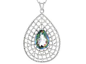 Pre-Owned Multi Color Quartz Rhodium Over Sterling Silver Pendant With Chain 11.00ctw
