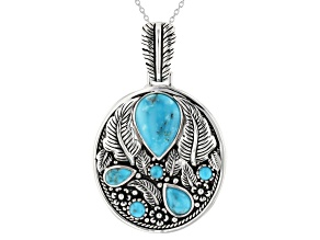 Pre-Owned Kingman Turquoise Rhodium Over Sterling Silver Enhancer With Chain