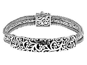 Pre-Owned Sterling Silver Multi-Row Bali Chain Bracelet