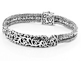 Pre-Owned Sterling Silver Multi-Row Bali Chain Bracelet