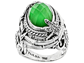 Pre-Owned Green Tsavorite Color Quartz Triplet Silver Ring