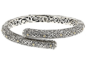 Pre-Owned Sterling Silver And 18k Gold Accent Bypass Bracelet