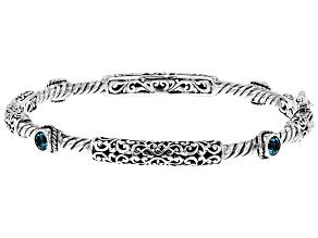 Pre-Owned Blue Bali Breeze™ Topaz Silver Bangle Bracelet 0.80ctw