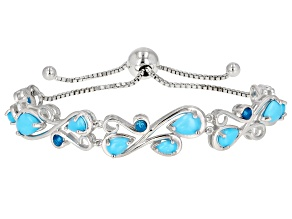 Pre-Owned Blue turquoise rhodium over silver bolo bracelet .20ctw