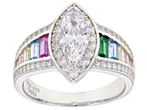 Pre-Owned Multicolor Cubic Zirconia Rhodium Over Sterling Silver Center Design Ring 2.96ctw