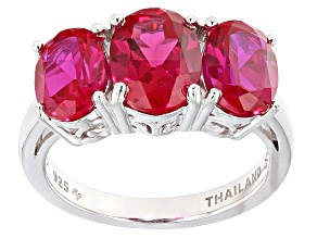 Pre-Owned Red Lab Created Ruby Sterling Silver Ring 5.04ctw