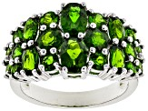 Pre-Owned Green chrome diopside rhodium over silver ring 3.41ctw