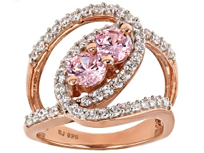 Pre-Owned Pink And White Cubic Zirconia 18k Rose Gold Over Silver Ring 3.43ctw (1.67ctw DEW)