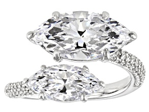 Pre-Owned White Cubic Zirconia Rhodium Over Sterling Silver Ring 9.56ctw