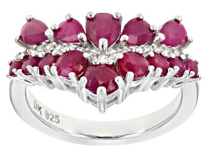 Pre-Owned Red ruby rhodium over silver ring 2.54ctw
