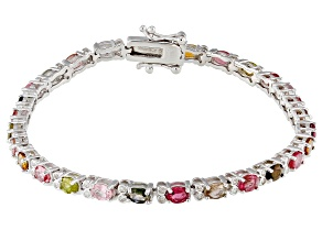 Pre-Owned Multicolor Tourmaline Rhodium Over Silver Bracelet 5.01ctw