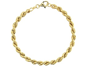 Pre-Owned 18K Yellow Gold Over Sterling Silver Hollow Rope Chain Bracelet 7.5 Inch