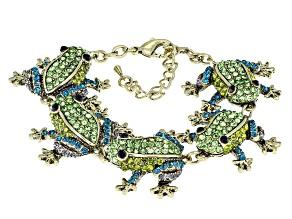 Pre-Owned Multicolor Crystal Antiqued Gold Tone Frog Bracelet