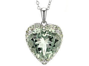 Pre-Owned Green Prasiolite Sterling Silver Pendant With Chain 8.08ctw