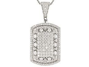 Pre-Owned White Cubic Zirconia Rhodium Over Sterling Silver Cluster Pendant With Chain 5.12ctw