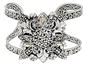 Pre-Owned Silver with 18k Gold Accent Floral Bracelet
